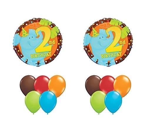2nd Birthday 2 Second Elephant Jungle Animal Happy Balloon Set Party