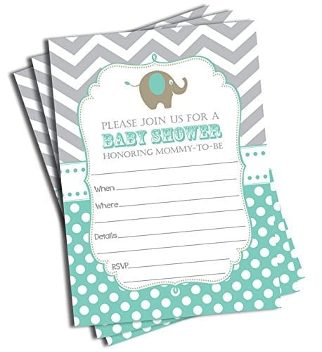 invitations with blue patterns and small elephant picture