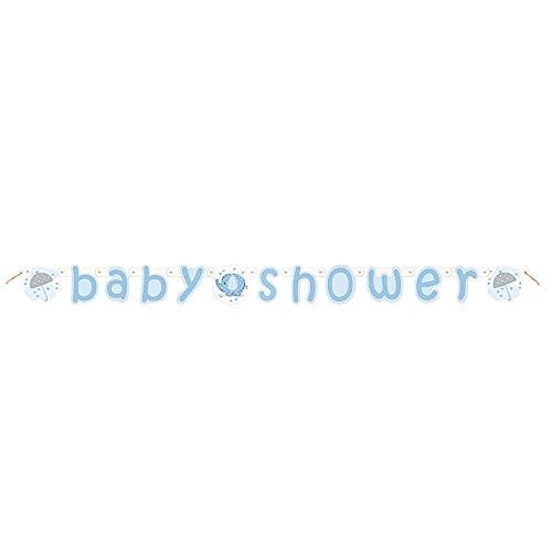 blue banner with baby shower message and elephants and umbrellas