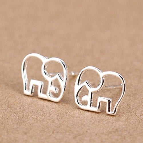 silver elephant outline stud earrings