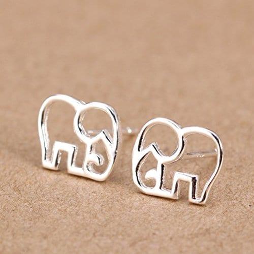 silver elephant outline stud earrings