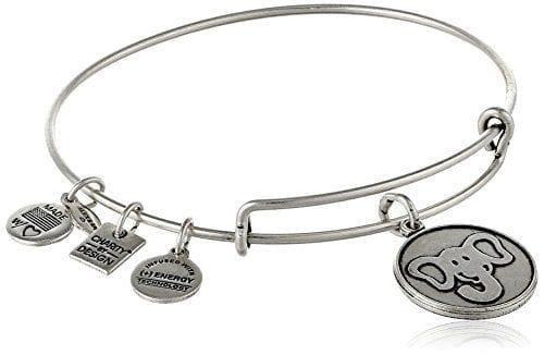 silver wire bracelet with circular elephant charm
