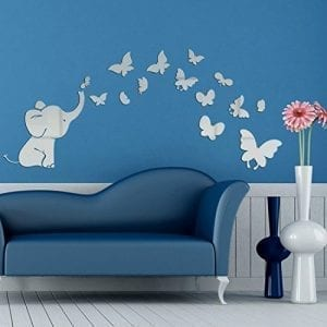 silver elephant and butterflies wall sticker