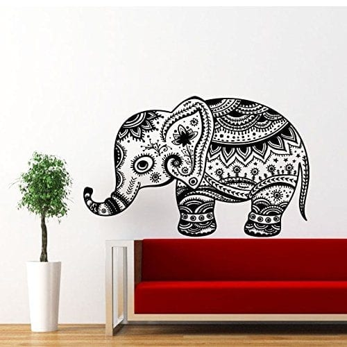 large tribal patterned elephant wall sticker
