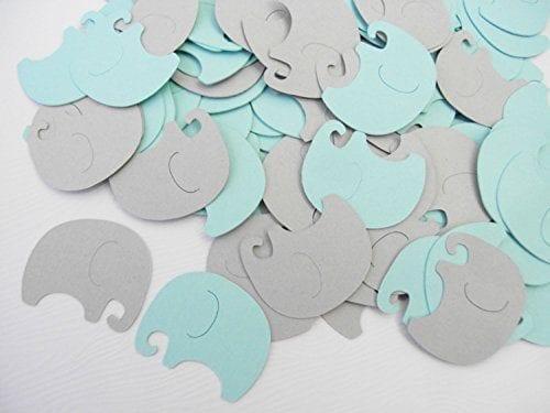 elephant confetti in blue and grey
