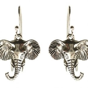silver elephant head earrings