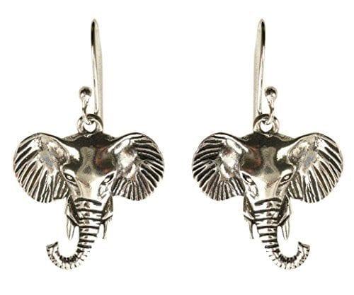 silver elephant head earrings