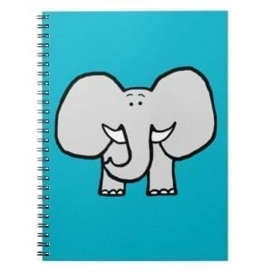 blue notebook with big eared elephant cartoon on cover