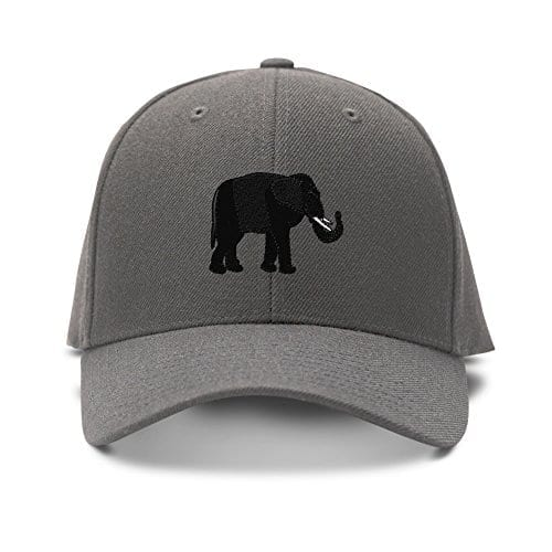 grey baseball cap with small black elephant logo