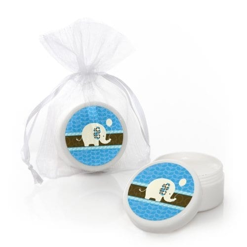 small blue lip balm party favors with elephants on them