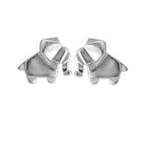 silver origami elephant earrings