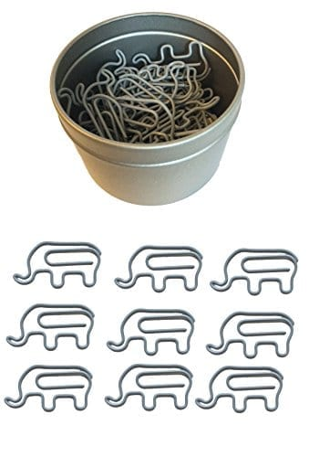 grey elephant paper clips in silver tin