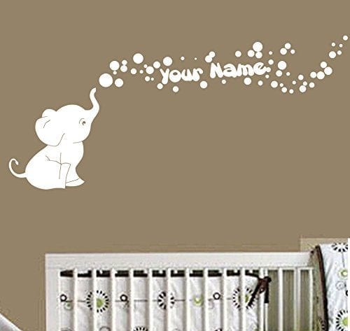 Wall decal white elephant blowing bubbles with personalised name