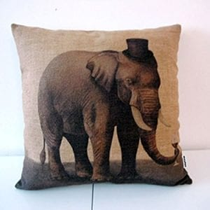 cushion with vintage image of elephant wearing a top hat