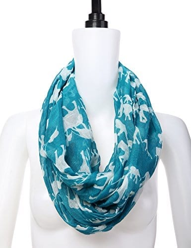 blue cotton scarf with white elephants
