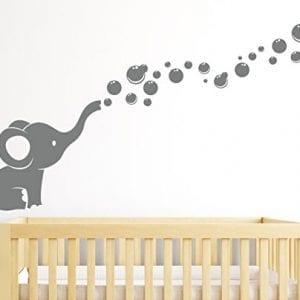 Grey YouYou Elephants Bubbles Wall Decal Vinyl Sticker Art Baby Nursery Decor