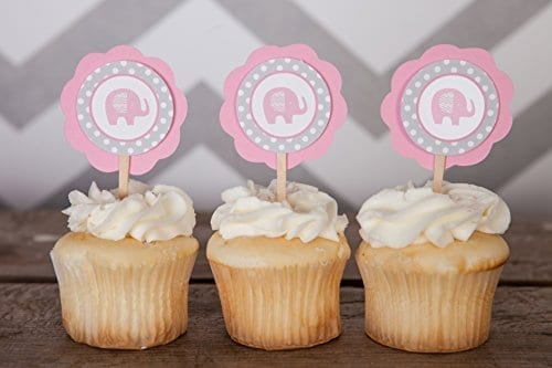 pink and grey elephant cupcake toppers