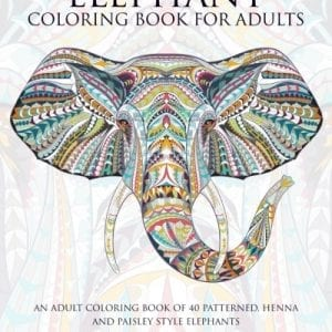 elephant coloring book with colorful elephant head on cover