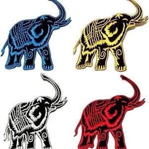 set of four elephant fabric patches in different colors