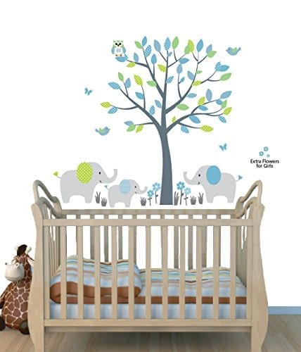 family of elephants and tree wall sticker