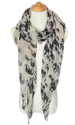 white thing scarf with black elephants