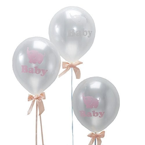 silver balloons with pink ribbons and small pink elephants