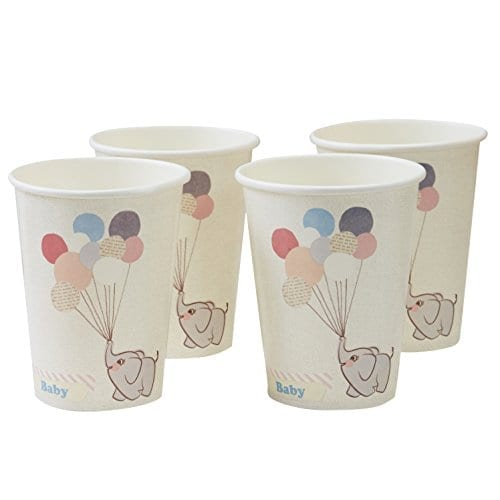 white paper cups with cute baby elephant holding balloons on them