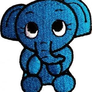 blue cartoon baby elephant fabric patch