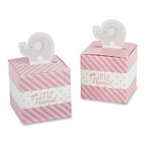 small pink and white boxes with grey elephants on top