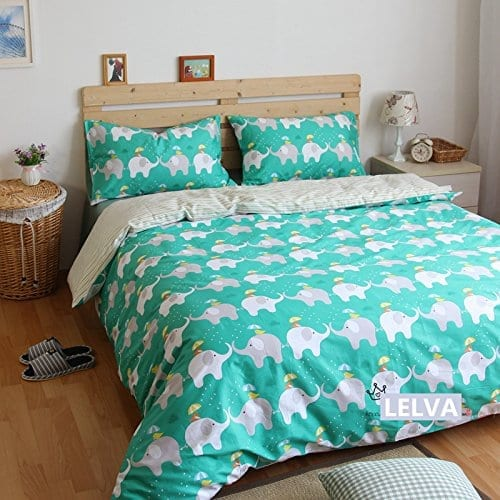 double bedding set in teal with elephants in white and grey wearing umbrella hats