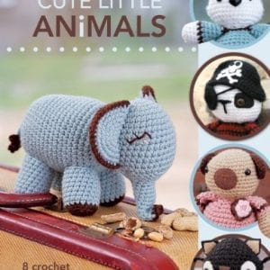 cute little animals book with knitted elephant on the cover