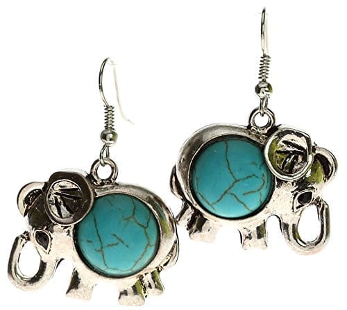 silver elephant earrings with turqouise stones
