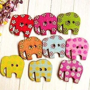 set of wooden elephant shaped buttons with different color flower patterns