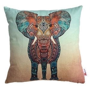 cushion with front view abstract multi color elephant design