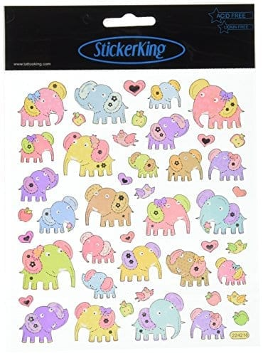 cartoon elephant stickers in pastel colors