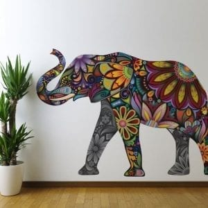 multi colored flower patterned elephant wall sticker