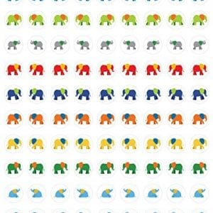 small colorful elephant stickers