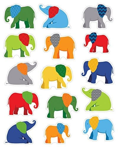 small colorful elephant stickers with contrast patterned ears