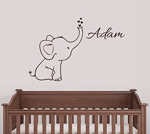 baby elephant wall sticker with hearts and personalised name