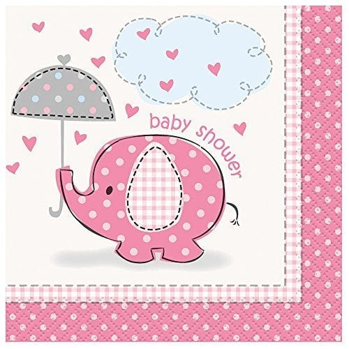 napkins with pink design and elephant holding umbrella with baby shower message