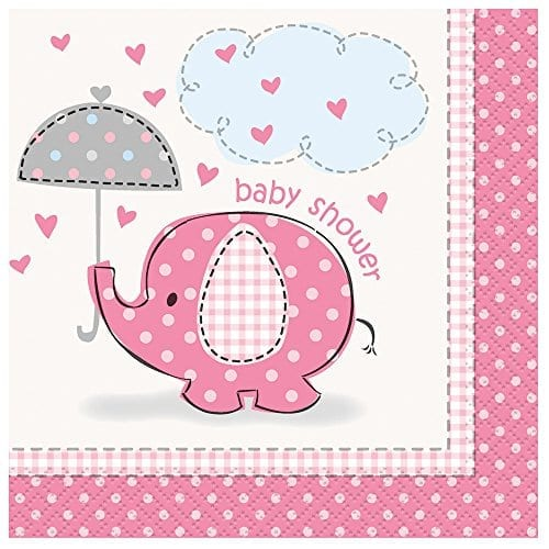 Pink Elephant Girl Baby Shower Cocktail Napkins 16ct Elephant Things