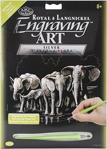 engraving book with elephants on the cover and graving tool included