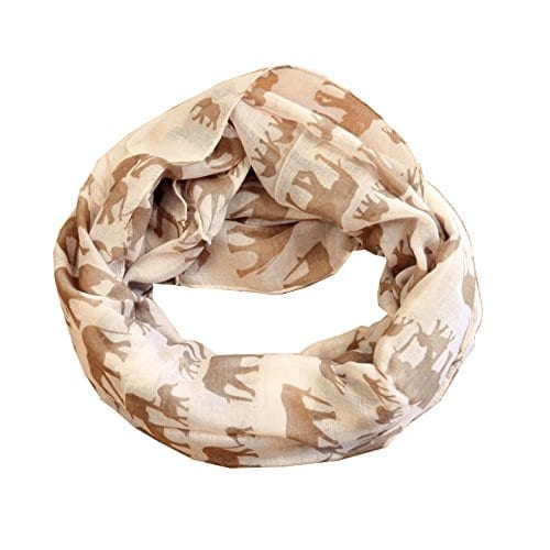 camel color thin scarf with brown elephant repeating pattern