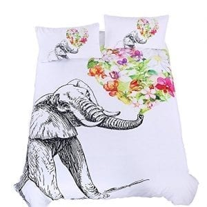 double bedding set with large elephant spraying bouquet of flowers