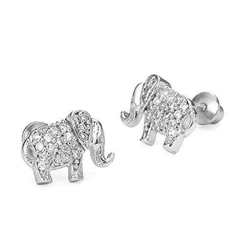 rhodium plated silver elephant earrings