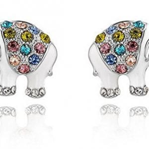 silver elephants stuffed with gemstones earrings