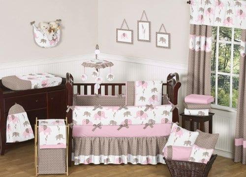pink and brown nine piece crib bedding set with elephants