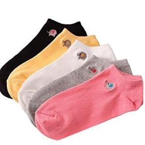 five pack of ankle socks pink grey white yellow black and small elephant image