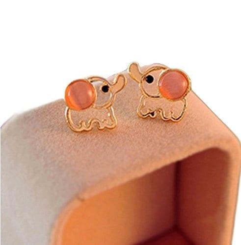 pink elephant jeweled stud earrings