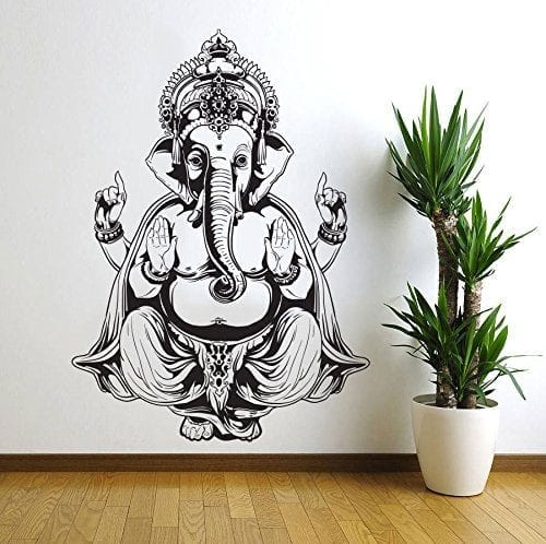 ganesh elephant black and white wall sticker